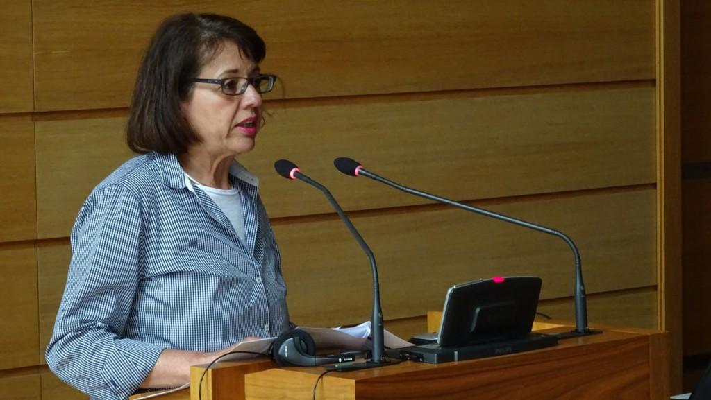 """Ursula Moskwa (Deutsche Diakonie, Berlin) trägt zu den Förderrichtlinien der """"Aktion Mensch"""" vor"""